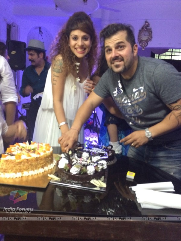 Tanaaz Irani poses with Bakhtiyaar Irani at surprise birthday bash arranged by Bakhtiyaar