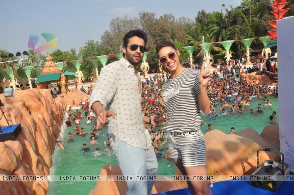 Jackky Bhagnani and Lauren Gottlieb Promoting Welcome to Karachi at Water Kingdom