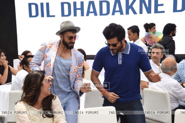 Ranveer Singh and Anil Kapoor shake a leg at the Music Launch of Dil Dhadakne Do