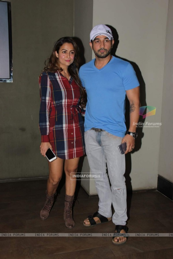 Amrita Arora poses with Shakeel Ladak at the Special Screening of Piku by Ritesh Sidhwani