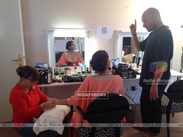 Sonam Kapoor prepares before leaving for Cannes Film Festival 2015