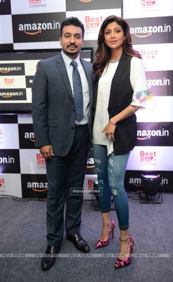 Shilpa Shetty and Raj Kundra Pose for Media at Amazon Event