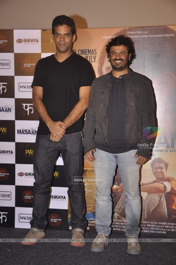Vikramaditya Motwane and Vikas Bahl at Trailer Launch of Masaan