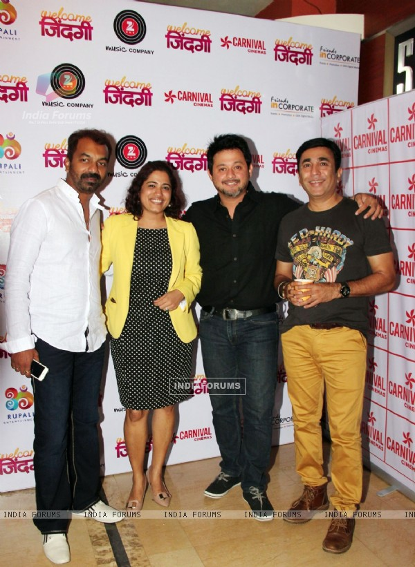Abhijeet Panse, Vaishali Sarwankar, Swapnil Joshi and Puskar at Premiere of 'Welcome Zindagi'