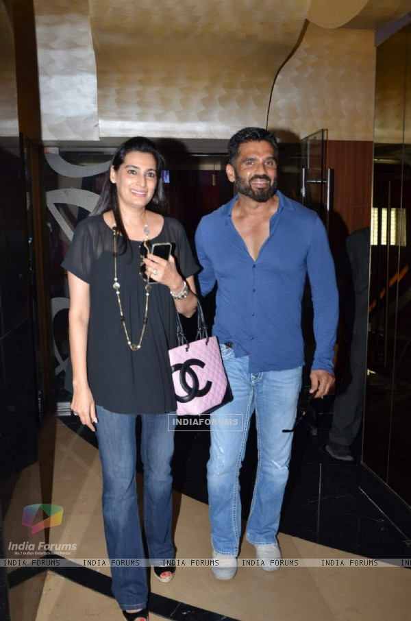 Suniel Shetty and Mana Shetty pose for the media at the Trailer Launch of Hero