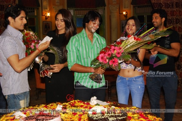Birthday boys Dhruv Bhandari and Rafi Malik receive floral bouquet at their Bash