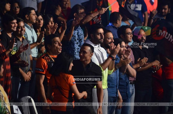 Abhishek Bachchan was snapped cheering for his team during the Pro Kabaddi Match