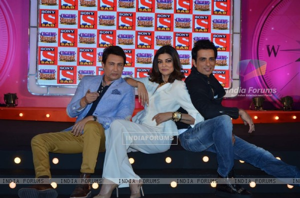 Sushmita Sen, Shekhar Suman and Sonu Sood at Launch of SAB TV's New Show Comedy Superstars