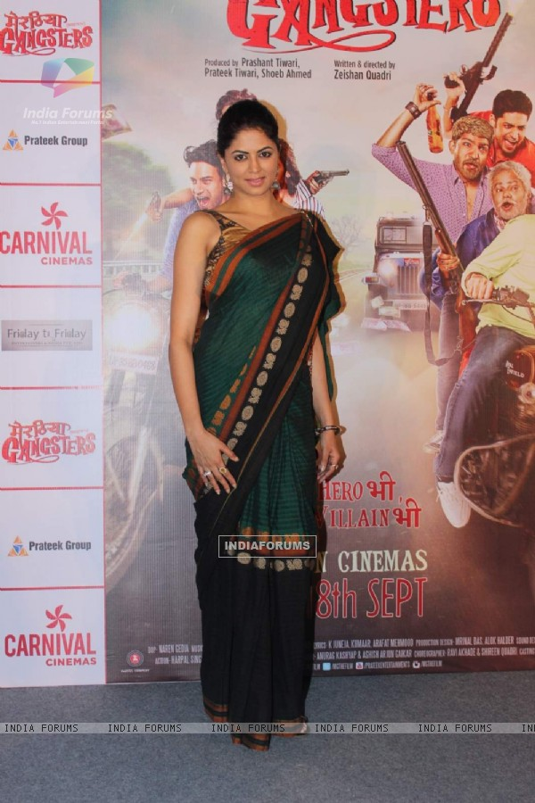 Kavita Kaushik poses for the media at the Trailer Launch of Meeruthiya Gangsters