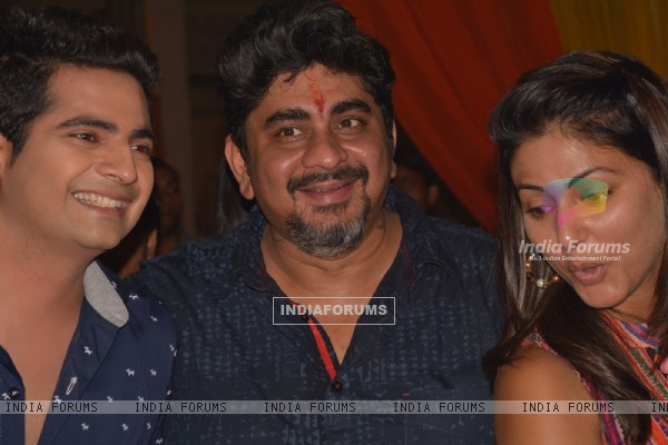 Rajan Shahi with Karan Mehra and Hina Khan at the Yeh Ristha Kya Kehlata Hai Celebrations