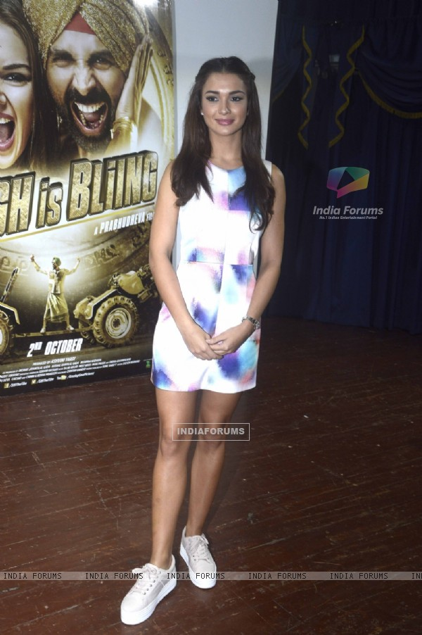 Amy Jackson poses for the media at the Promotions of Singh is Bling at Jaihind College