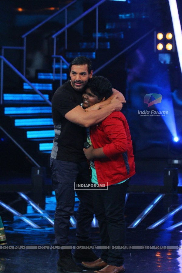 John Abraham for Promotions of Welcome Back on Indian Idol Junior