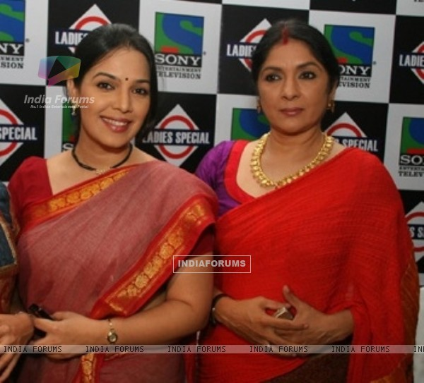 Shubha and Nanda in the launch party of Ladies Special