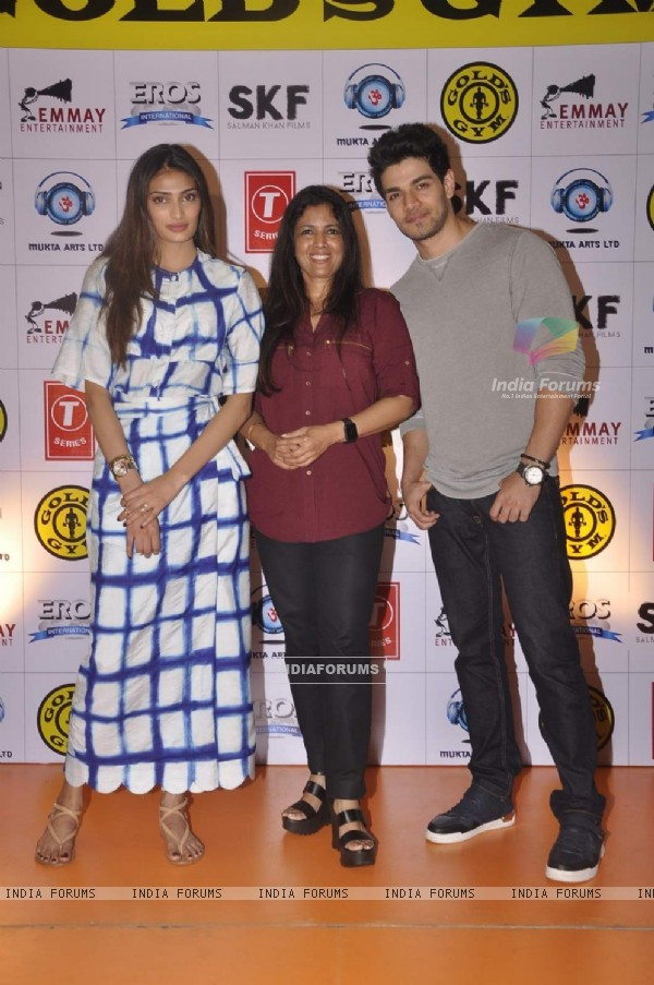 Sooraj Pancholi with Athiya Shetty Promotes Hero at Gold's Gym