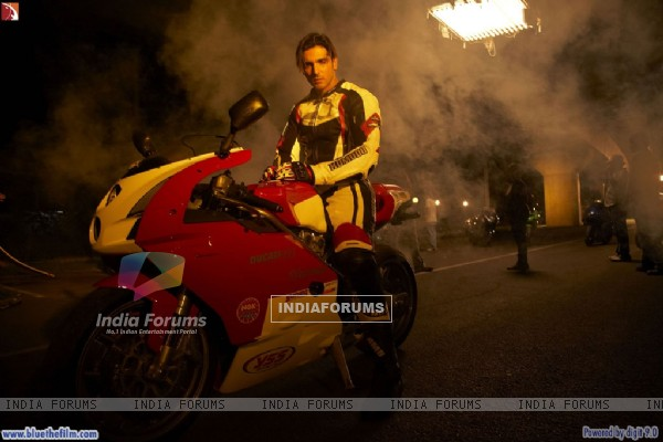 Zayed Khan sitting on a bike