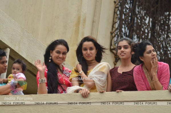 Shraddha Kapoor and Padmini Kolhapure at Local Ganesh Utsav Mandal