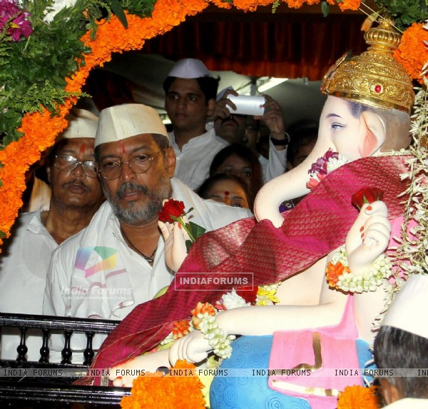 Nana Patekar was snapped at his Ganpati Visarjan
