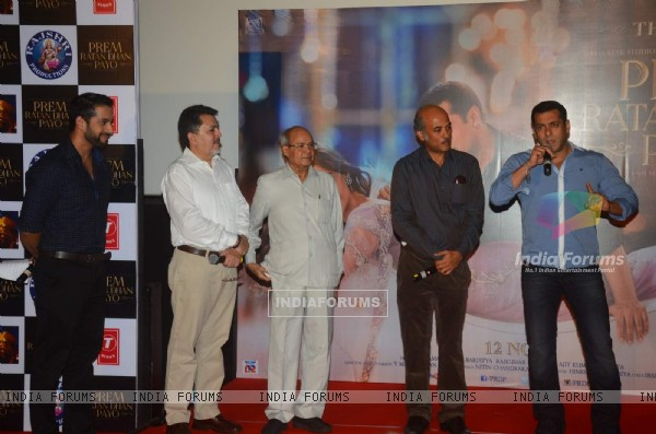 Salman Khan interacts with the audience at the Trailer Launch of Prem Ratan Dhan Payo