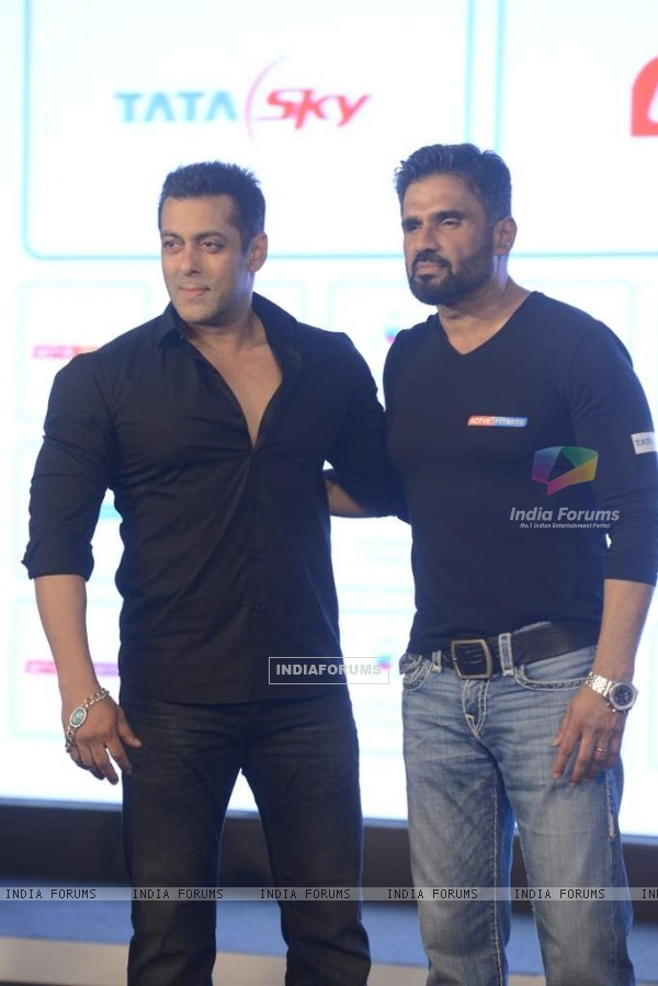 Salman Khan and Sunil Shetty pose for the media at the Launch of the Fitness Channel