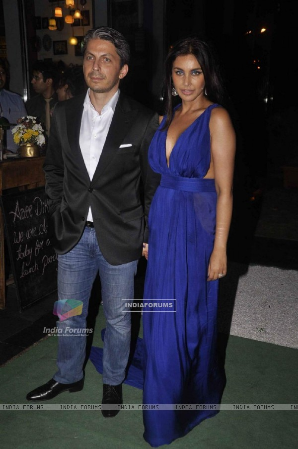 Lisa Ray with her husband at the Launch of Soda Bottle Opener Wala Restaurant