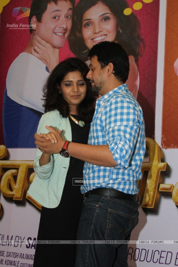 Swapnil Joshi and  Mukta Barve Dances at Song Launch of 'Mumbai Pune Mumbai 2'