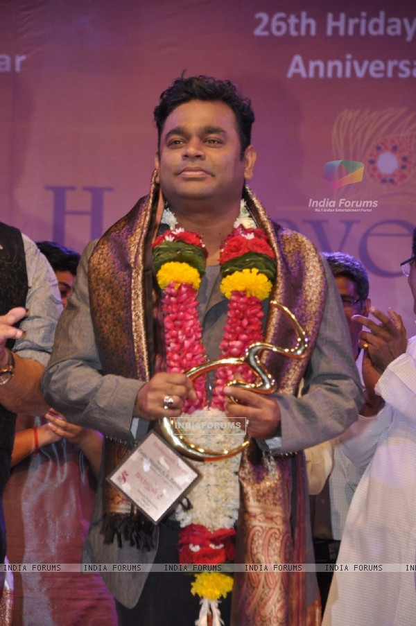 A R Rahman Honoured at 26th Hridayesh Arts Anniversary Event