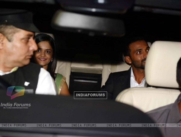 Ajinkya Rahane at Harbhajan Singh - Geeta Basra Wedding Reception
