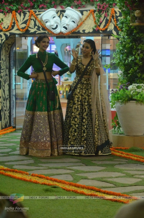 Swara Bhaskar and Sonam Kapoor of PRDP Team at Bigg Boss House