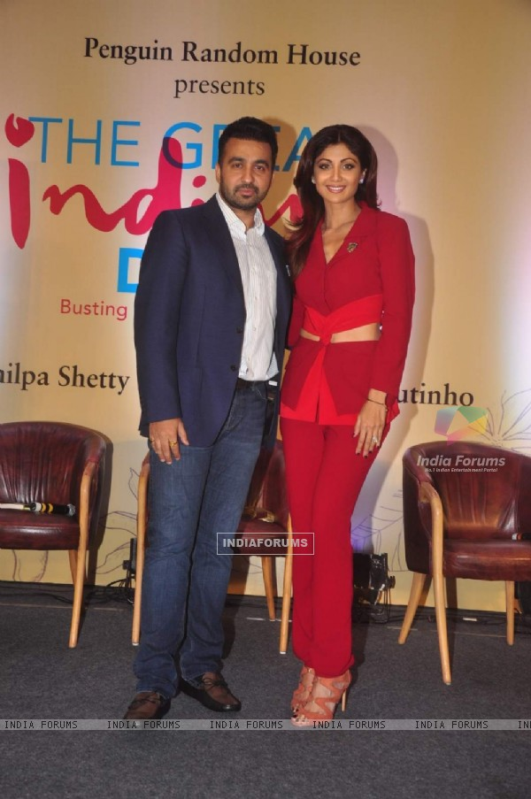 Shilpa Shetty with husband Raj Kundra at launch of her book 'The Great Indian Diet'