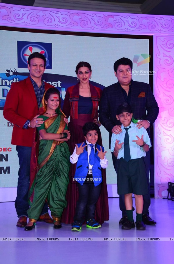 Sonali Bendre, Sajid Khan and Vivek Oberoi at Press Meet of India's Best Dramebaaz
