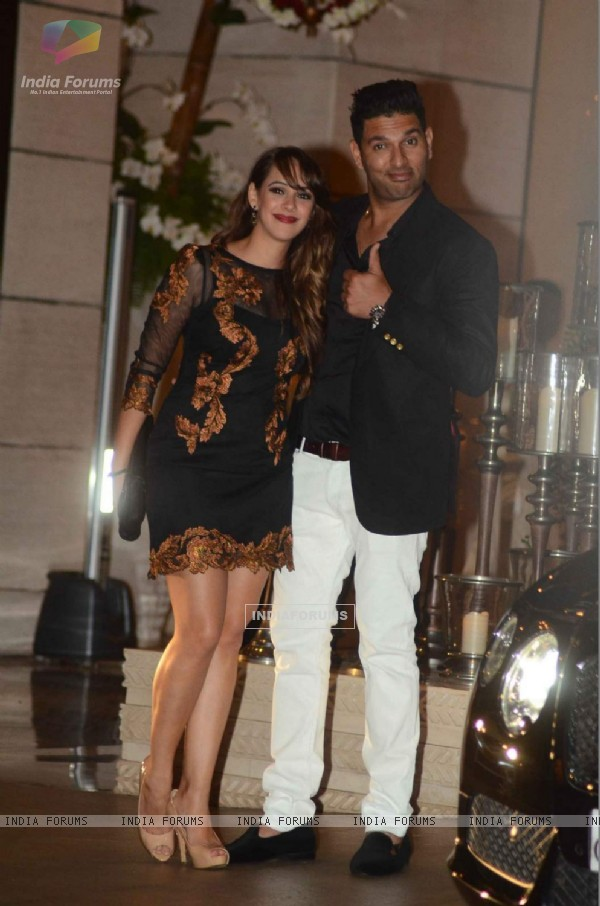 Yuvraj Singh poses with a friend at Mukesh and Nita Ambani's Bash