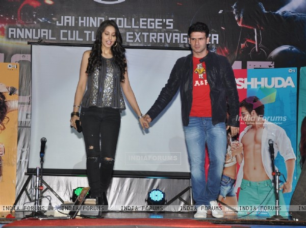 Navneet Kaur Dhillon and Girish Kumar for Promotions of 'Loveshhuda' at Jai Hind College