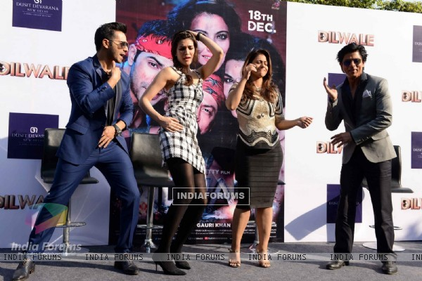 Shah Rukh Khan, Kajol, Kriti Sanon and Varun Dhawan at Press Meet of 'Dilwale' in Delhi