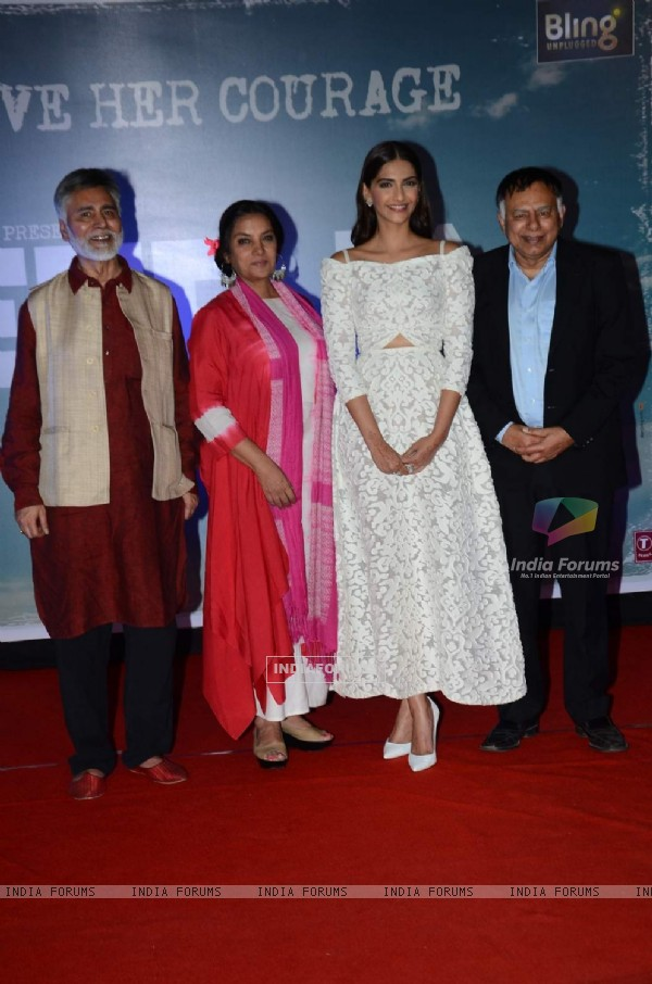 Shabana Azmi and Sonam Kapoor with Neerja Bhanot's real-life brothers at Trailer Launch of Neerja
