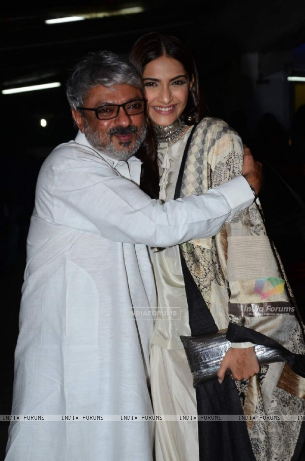 Sanjay Leela Bhansali with Sonam Kapoor at Special Screening of Bajirao Mastani