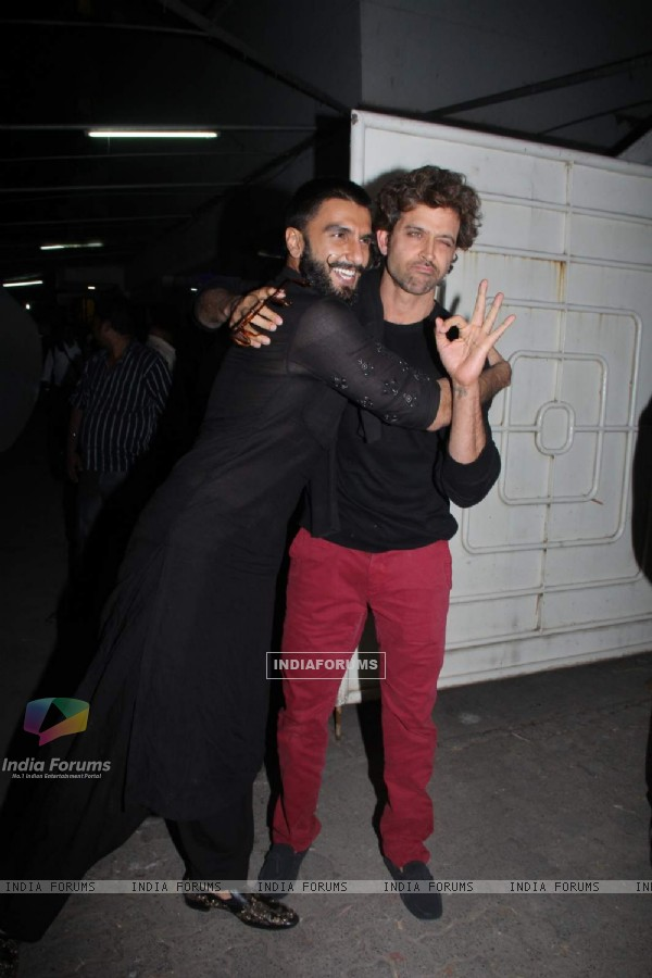 Ranveer and Hrtithik at Special Screening of Bajirao Mastani