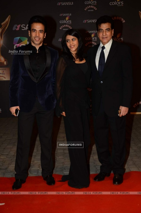 Tusshar Kapoor, Ekta Kapoor and Jeetendra at Stardust Awards