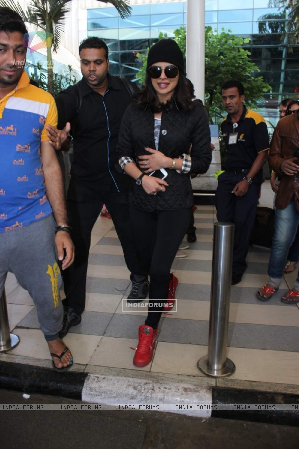 Priyanka Chopra poses for the media at Airport