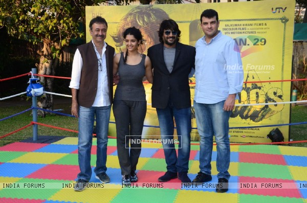 Raju Hirani, Ritika Singh, Madhavan and Siddharth Roy Kapur at Promotions of 'Saala Khadoos'