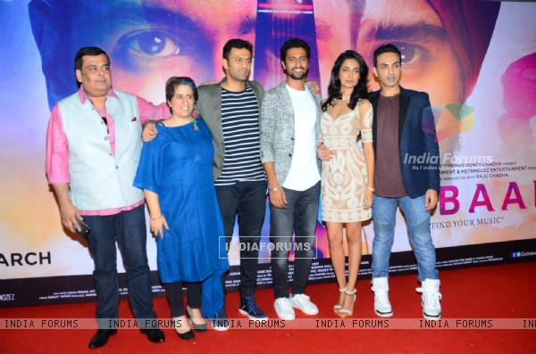 Sarah Jane Dias , Vicky Kaushal and Guneet Monga at Launch of Film 'Zubaan'