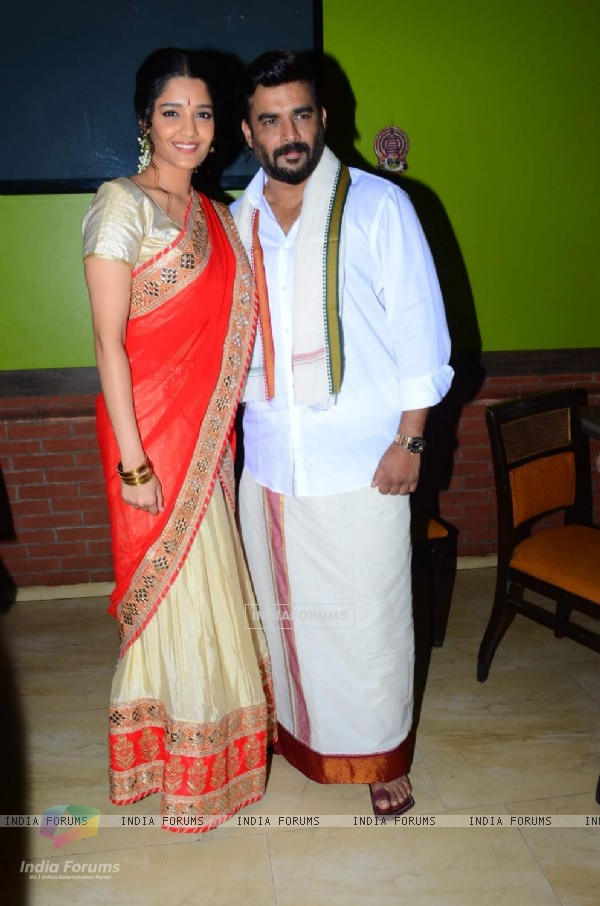 R. Madhavan and Ritika Singh pose for the media at Pongal Celebrations