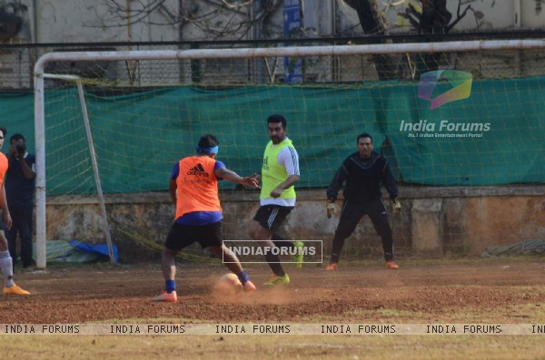 Raj Kundra and Marc Robinson Snapped Practicing Soccer