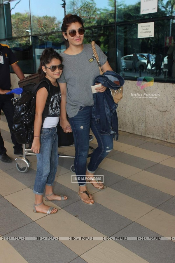 Raveena Tandon Snapped with Her Daughter at Airport - Leaves for wedding