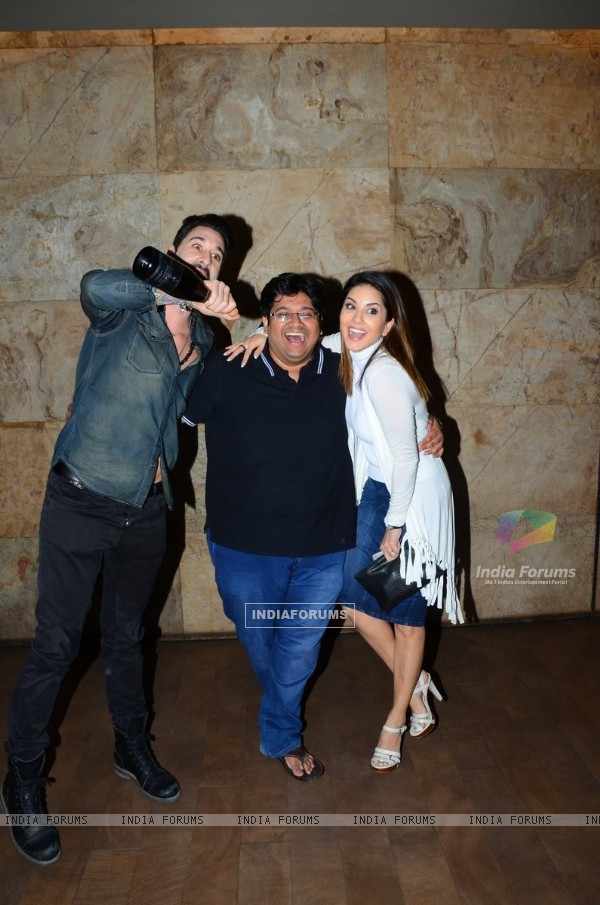 Sunny Leone with her Husband and Milap Zaveri at Special Screening of 'Mastizaade'