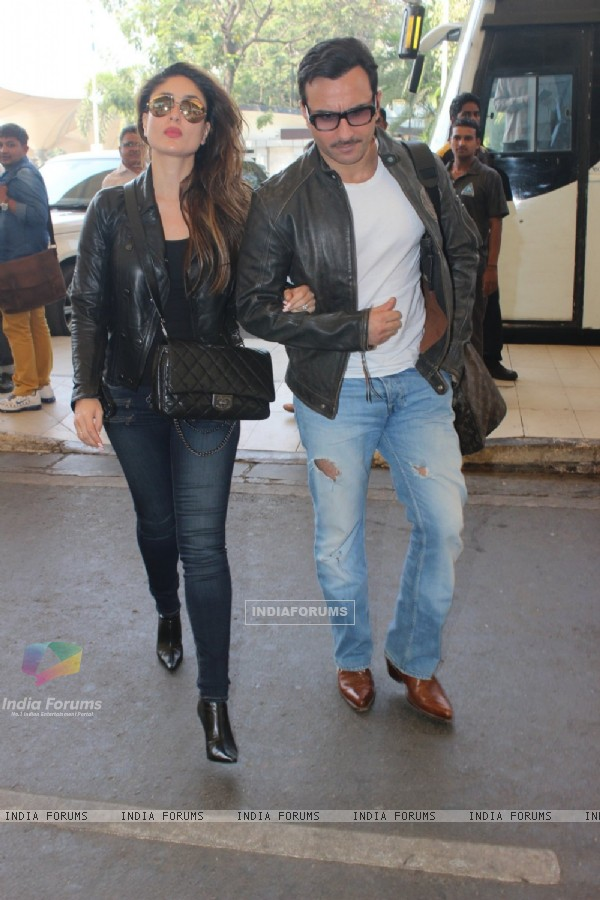 Nawab Saif Ali Khan and Begum Kareena Kapoor Snapped at Airport