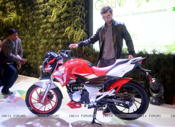 Ranbir Kapoor at Launch of Hero Bikes at Auto Expo in Delhi