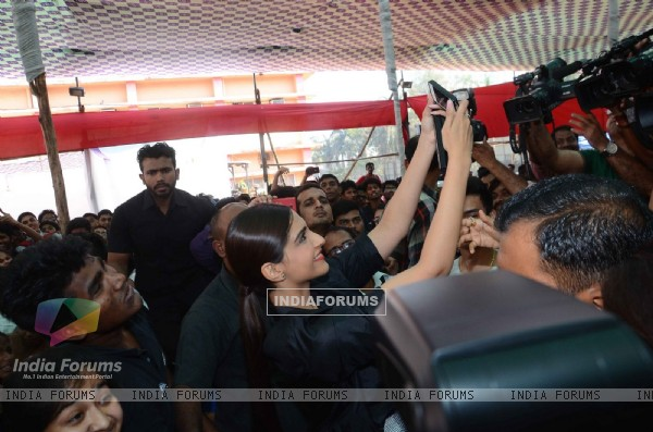 Sonam Kapoor takes a selfie at the Promotions of Neerja at Xaviers College