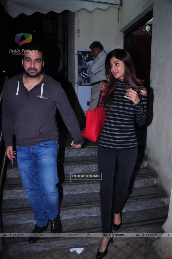 Raj Kundra and Shilpa Shetty were snapped at PVR