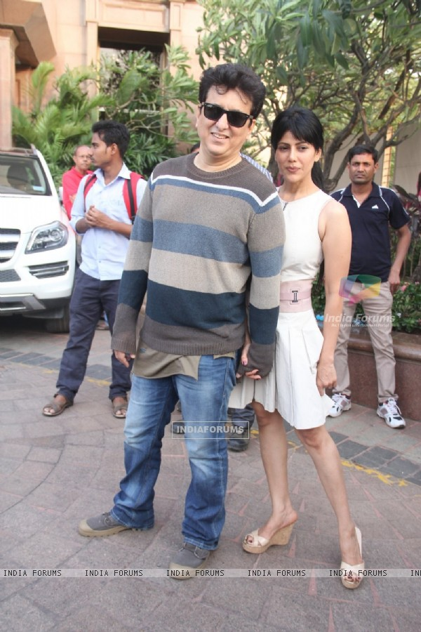 Sajid Nadiadwala and the Beautiful Wardha Khan at Arpita Khan's Baby Shower