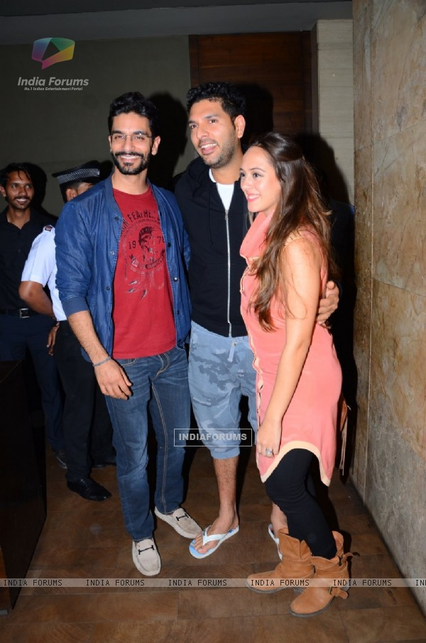 Angad Bedi and Yuvraj Singh at Special Screening of 'Neerja'